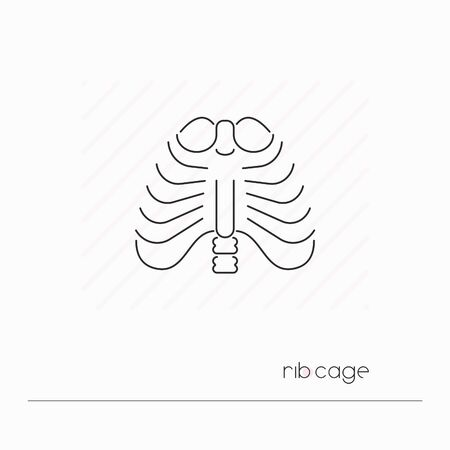Rib cage icon isolated. Single thin line symbol of ribs. Human body anatomy outline pictogram