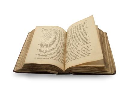 vangelo aperto: Libro aperto vecchia religione sulla vecchia lingua slovenic su sfondo bianco isolato