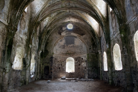 interior of ancient church in ruins in abandoned village Kayakoy, Turkey photo