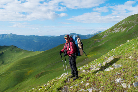 hiker with backpack in Georgia mountains Standard-Bild