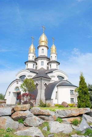 beautiful orthodox church in sunny day, village Buki, Ukraine Standard-Bild