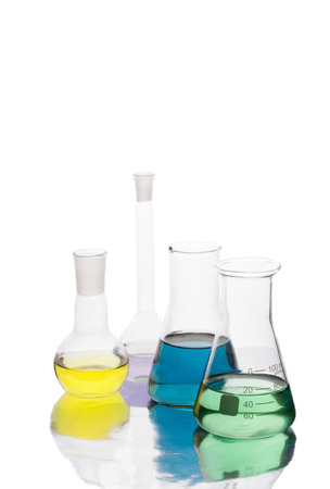 Science equipment in laboratory isolated on white background