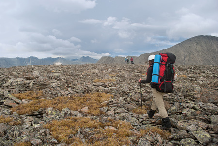 female hiker in Ural mountains, Russia