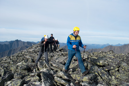 group of hikers in Ural mountains, Russia Standard-Bild