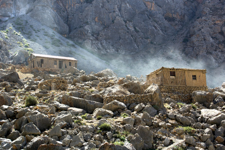 中央アジアのタジキスタンの高 2500 m の山村 aul 写真素材