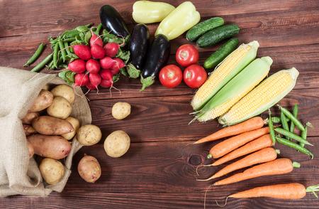 vegetables on wooden background