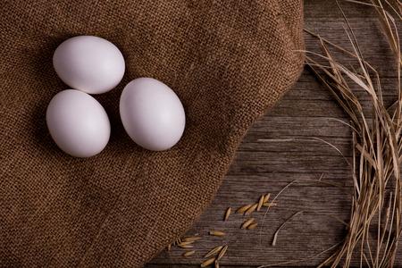 kip biologische eieren met stro op jute achtergrond