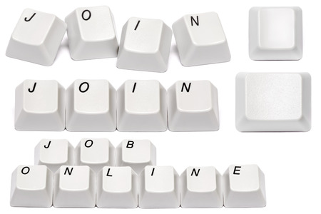 set of conceptual Word join collected from computer keyboard buttons isolated on white background photo