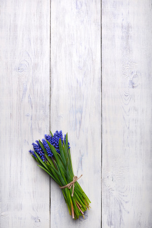 blue Muscari spring flowers bouquet on wooden table. Top view, copy space.