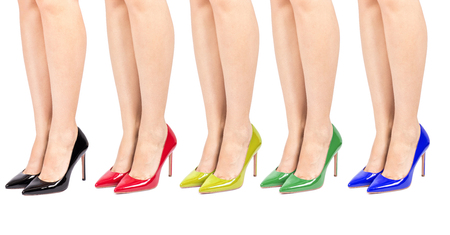 women legs: shoes on sexy long women legs isolated on white background