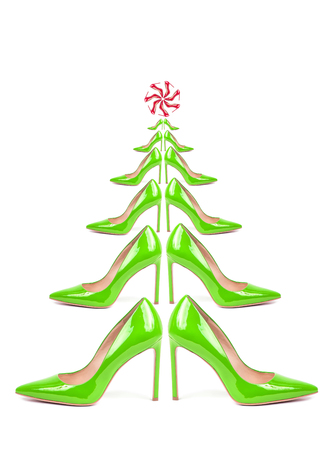 Christmas tree collected from shoes isolated on white background, New Year sale concept