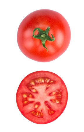 view top: Tomato half slice isolated on white background, top view Stock Photo