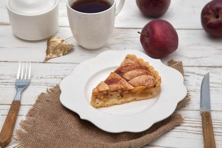 a piece of apple pie on a plate, dessert Stok Fotoğraf