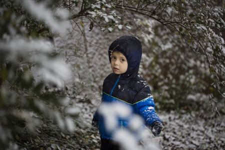A cute little boy stands in snow in park in the winter, looking at the camera Black & White