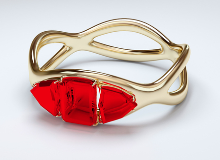 ruby stone: Gold ring with three ruby red stone Stock Photo