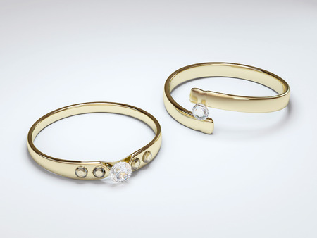 Two gold ring with diamond stone