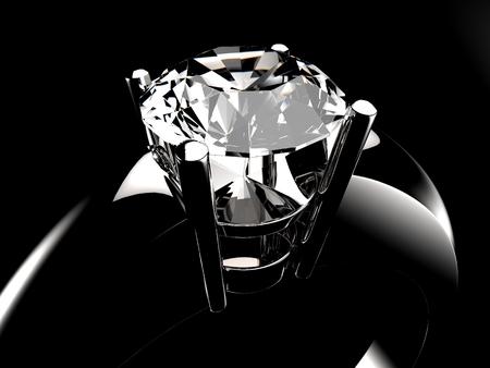 어두운 환경에서 다이아몬드 솔리테어 링 근접 촬영