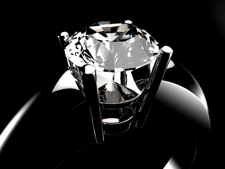 diamante negro: Diamond solitaire ring closeup in dark environment