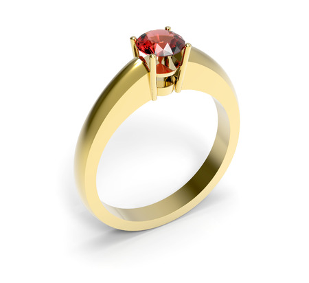Red pebble gold ring closeup