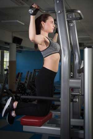 intervals: beautiful athletic woman working ab intervals in fitness Stock Photo