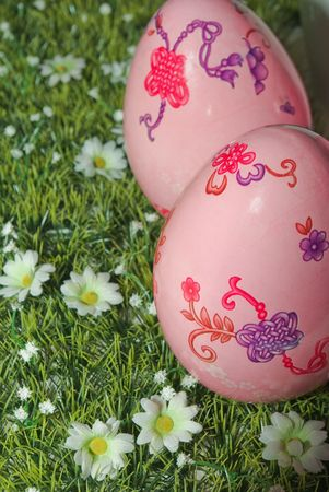 Easter pink Eggs on the green lawn Stock Photo - 5902406