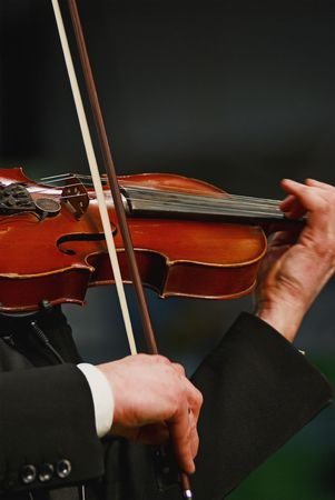 Musician playing violin with expression Standard-Bild