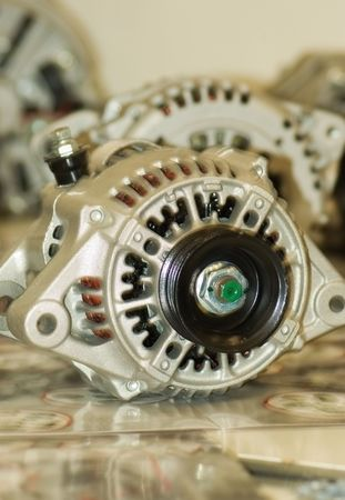 alternator: modern automotive power generating alternator ready to install