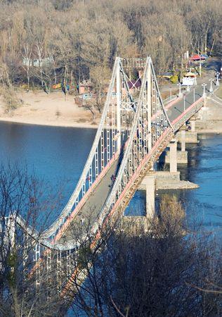 Pedestrian bridge across the Dnieper in Kiev photo