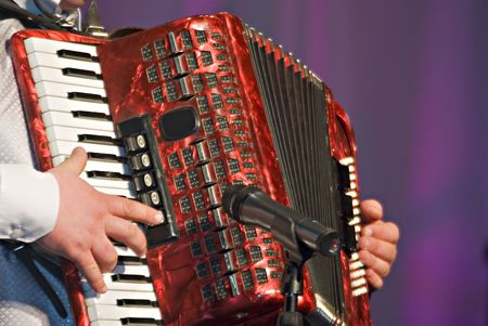 The musician playing the accordion close up