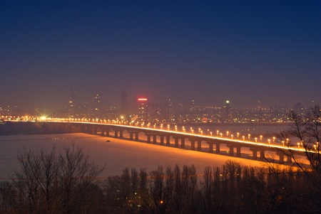 spanned: Bridge across the Dnieper River in Kiev