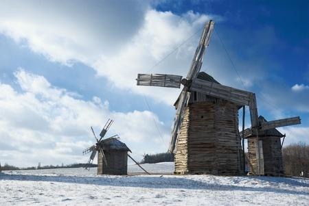 ethnographic: Old wooden windmills at Pirogovo ethnographic museum, near Kiev, Ukraine