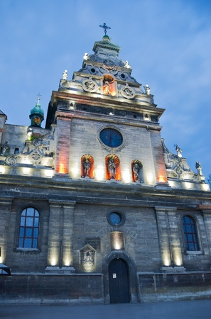 Ancient Roman Catholic cathedral in Lviv night view