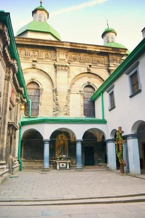 inside a church courtyard in Lviv. Ukraine
