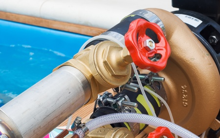 Industrial high pressure valve and taps for a fire extinguishing system. Stock Photo - 11244231