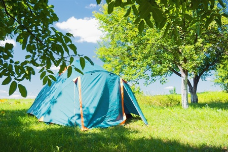 camping tent standing in the apple garden