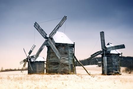 Old wooden windmills at Pirogovo ethnographic museum, near Kiev, Ukraine Stock Photo - 18101122