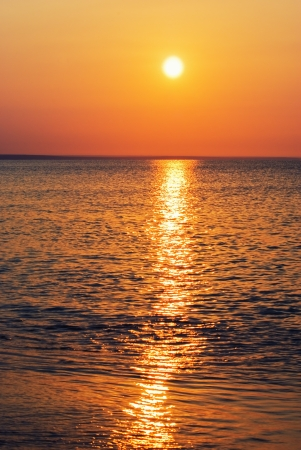 deep red sunset over the sea