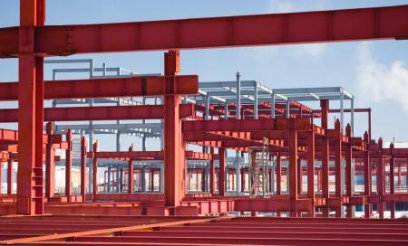 steelwork: metallic frame of the future building Stock Photo
