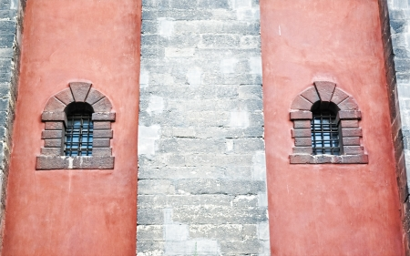 old windows with old lattice  on the wall photo