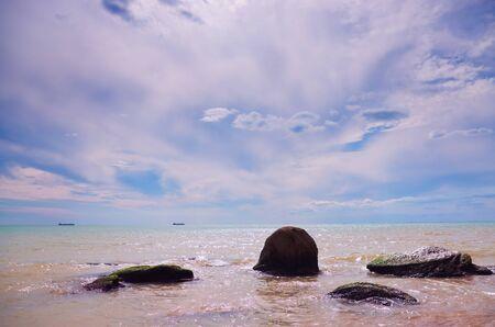 sea waves   rolling on stones Standard-Bild