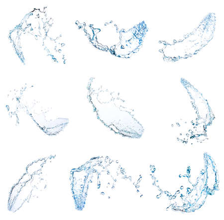 collection Blue water splash Beautiful splashing clean water Isolated on white background