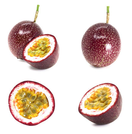 Passion fruit set. Whole passion fruit and half maracuya. Packaging design elements. Isolated on white background