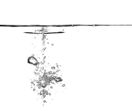 Bubble soda and black oxygen air, in underwater clear liquid with bubbles flowing up on the water surface, isolated on a white background. with copy space