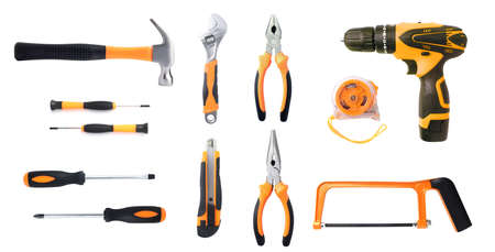 Set hand tool It is a tool for bending, cutting, clamping in electrical work. Repair or rebuild Isolated on white background Stock Photo