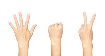 Close-up picture of male hand gesture symbolizing as a rock, paper, scissors, game. Isolated on white background.