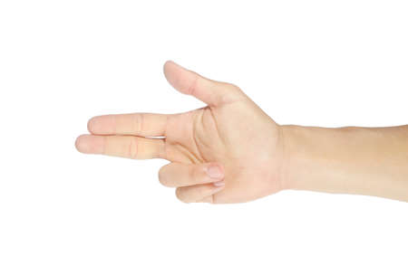 Finger-pointing gesture. Men's right hand and symbol. Isolated on white background with clipping path.