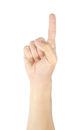 Man hands holding one fingers gestures and symbols isolated on white background with clipping path.