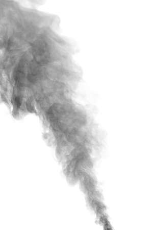 Close-up of the black smoke from the spray from the humidifier. Isolated on white background