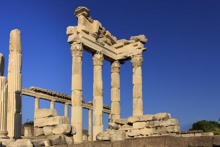 Ancient greek columns of Pergamon Acropolis rising on blue sky - Izmir TURKEY