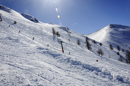bardonecchia: Italian alps - Skier on a ski lift - Bardonecchia Vallon Cross